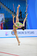 Uchida Katherine during qualifying at clubs in Pesaro World Cup 02 April 2016. Katherine is a canadian individual rhythmic gymnast, was born in Markham, 1999.