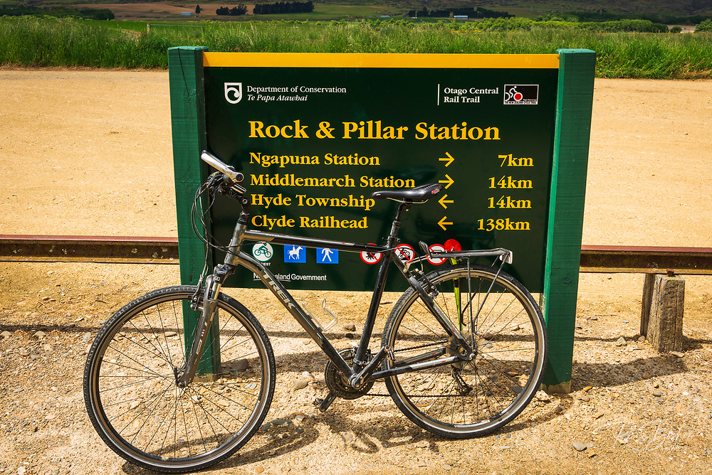 Bicycle and interpretive sign on the Otago Central Rail Trail, Otago, South Island, New Zealand