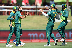 Cape Town-181006-South African spin bowler Imran Taheer celebrates after bowling out Zimbabwean Solomon Mire  in the 3rd ODI match at Boland Park cricket stadium. .Photographer:Phando Jikelo/African News Agency(ANA)
