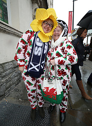 Rugby fans before the NatWest 6 Nations match at the Principality Stadium, Cardiff.