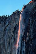 Sunset at Horsetail Falls in Yosemite National Park