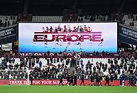Football - 2020 / 2021 Premier League - Final Round - West ham United vs Southampton - London Stadium<br /> <br /> A display on the big screen confirming Europa League football next season for West Ham.<br /> <br /> COLORSPORT/ASHLEY WESTERN