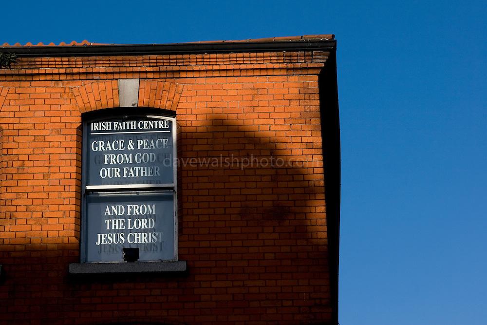 Irish Faith Centre, Phibsboro, highlighted on a sunny morning. ..