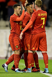 November 10, 2017 - Bruxelles, Belgique - Eden Hazard midfielder of Belgium celebrates scoring a goal with teammate Kevin De Bruyne forward of Belgium (Credit Image: © Panoramic via ZUMA Press)