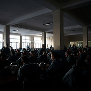 November 14, 2012 - Kabul, Afghanistan: General view of the canteen during breakfast at the Afghan Nacional Police Academy...ANP Academy trains 1250 cadets at the time during a period of four years. Every year, five hundred new recruits are selected, out of more than nine thousand of candidates, to join the academy and other five hundred graduate. Fifteen per cent of the recruits are women. (Paulo Nunes dos Santos/Polaris)