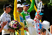 CYCLING - TOUR DE FRANCE 2010 - PARIS (FRA) - 25/07/2010 - PHOTO : VINCENT CURUTCHET / DPPI - <br /> STAGE 20 - LONGJUMEAU > PARIS CHAMPS ELYSEES - ANDY SCHLECK (LUX) / SAXO BANK / WHITE JERSEY, ALBERTO CONTADOR (ESP) / ASTANA / WINNER , ALESSANDRO PETACCHI (ITA) / LAMPRE / GREEN JERSEY AND ANTHONY CHARTEAU (FRA) / BBOX BOUYGUES TELECOM / MOUNTAIN JERSEY