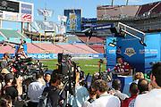 TAMPA, FL - JANUARY 27: Quarterback Kurt Warner #13 of the NFC Arizona Cardinals speaks to the media during Super Bowl XLIII Media Day at Raymond James Stadium on January 27, 2009 in Tampa, Florida. ©Paul Anthony Spinelli *** Local Caption *** Kurt Warner