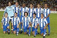 Fotball<br /> 2003/2004<br /> Norway Only<br /> Foto: Digitalsport<br /> <br /> FOOTBALL - SUPER CUP UEFA 2003 - 030829 - AC MILAN v FC PORTO - TEAM PORTO ( BACK ROW LEFT TO RIGHT : VITOR BAIA / JORGE COSTA / BENEDICT MAC CARTHY / RICARDO COSTA / PAULO FERREIRA / COSTINHA . FRONT ROW : DMITRI ALENITCHEV / MANICHE / RICARDO CARVALHO / DECO / DERLEI ) - PHOTO JEAN-MARIE HERVIO