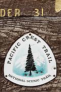 Pacific Crest Trail marker, Harts Pass, Cascade Mountains, Okanogan National Forest, Washington, USA