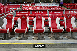 A general view of the away dug out area at Fleetwood Town's Highbury Stadium