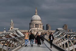 © Licensed to London News Pictures. 05/10/2020. LONDON, UK.  St. Paul's cathedral is bathed in sunshine after Storm Alex brought heavy rain to the UK over the weekend.   The forecast is for more changeable weather over the next few days.  Photo credit: Stephen Chung/LNP