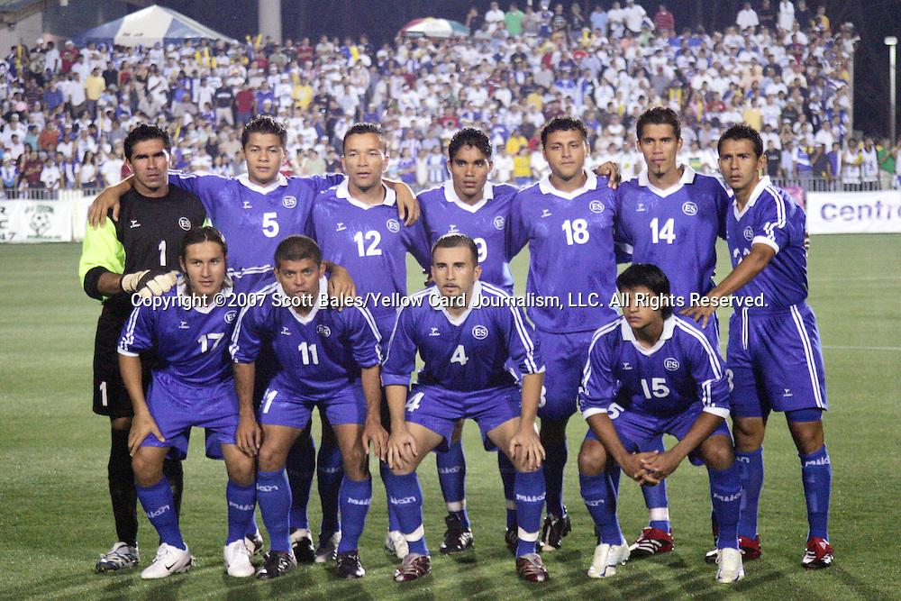 27 March 2007: El Salvador starting eleven.  Front row (l to r): Dennis Alas (17), Ronald Cerritos (11), Vicente Melgar (4), Manuel Salazar (15).  Back row (l to r): Juan José Gómez (1), Jose Mardoqueo Henríquez (5), Ramiro Carballo (12), Juan Alexander Campos (9), Alexander Escobar (18), Ramón Sánchez (14), José Orlando Martínez (23). The National Team of Honduras defeated the National Team of El Salvador 2-0 at SAS Stadium in Cary, North Carolina in an International Friendly soccer match.