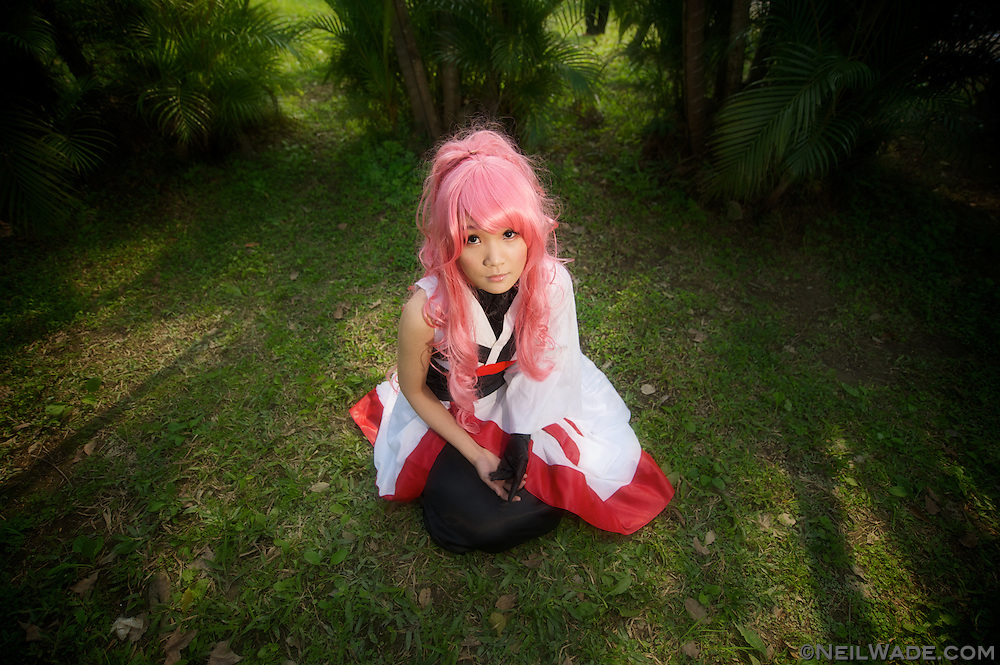 """A girl poses while dressed in a """"cosplay"""" costume at National Taiwan University in Taipei, Taiwan."""