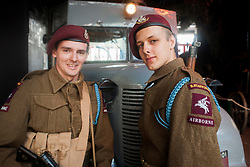"""Matt Moore and Joe Smith of the """"Poor Bloody Infantry"""" reenactment group protray member of the South Staffords 1st Airborne Division at the Sheffield Fire and Police Museums 1940's Weekend on Saturday<br /> <br /> 1 June 2013<br /> Image © Paul David Drabble<br /> www.pauldaviddrabble.co.uk"""