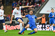 England Midfielder Jordan Henderson (14) and Italy Midfielder Marco Parolo (18) battle for the ball during the Friendly match between England and Italy at Wembley Stadium, London, England on 27 March 2018. Picture by Stephen Wright.
