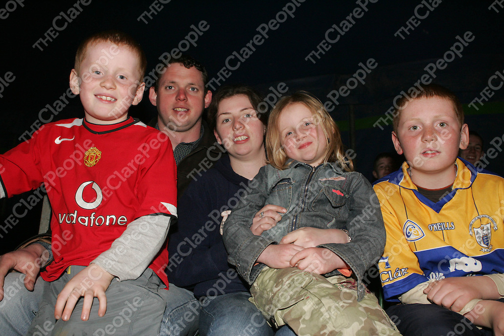 Shane Corry (8), Paddy Punch, Deirdre Corry (6), Marie Jones and Ronan Corry (11) from Scariff pictured at the Circus in Scariff on Wednesday night. Pic. Brian Arthur/ Press 22.