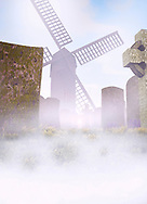 Graveyard with windmill.