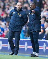 Kilmarnock manager Steve Clarke and Alex Dyer (right) during the Ladbrokes Scottish Premiership match at Ibrox Stadium, Glasgow.