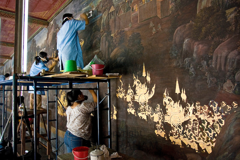 Renovation of the Cloisters and Ramakien murals, Grand Palace and Temple complex, Thailand