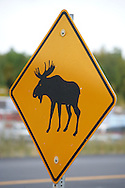12th September 2008, Wasilla, Alaska. A sign warns motorist that moose are present in the hometown of Alaskan Governor, Sarah Palin. Palin is the US Republican Vice Presidential pick. PHOTO © JOHN CHAPPLE / REBEL IMAGES.tel: +1-310-570-910