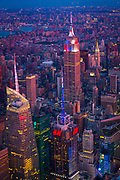 Aerial photograph (helicopter). Manhattan is the most densely populated of the five boroughs of New York City.