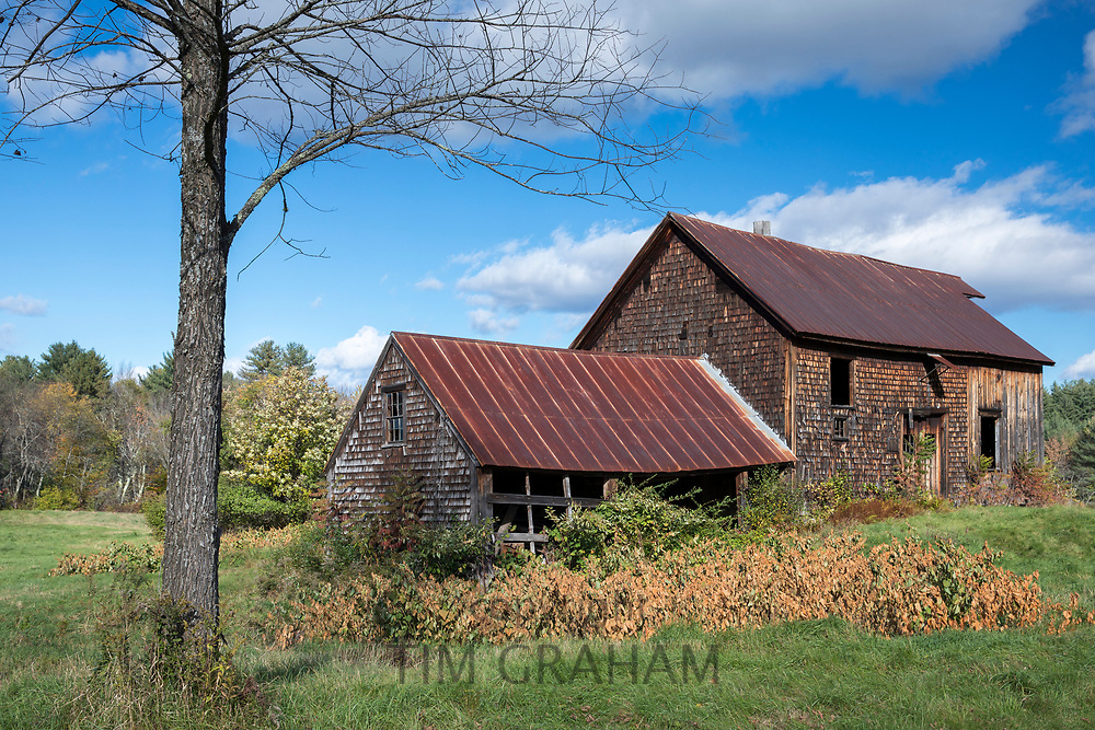 Wooden cedar shingles property with timber roof in Carrolll County, New Hampshire, USA