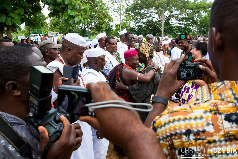 King Cephas Bansah, wife Queen Gabriele Bansah and Togbe (King) Osei III greeting Voodoo Priest Togbui Sassou Bakloll in Notse<br /> <br /> Day 1 of the Agbogboza Festival in Notse, Togo on September 1st, 2016<br /> <br /> ***Togbe Ngoryifia Cephas Kosi Bansah of Gbi Traditional Area Hohoe Ghana and Traditional, Spiritual and Honorable King of the Ewes and his wife, Queen Mother Gabriele Akosua Bansah Ahado Hohoe Ghana***