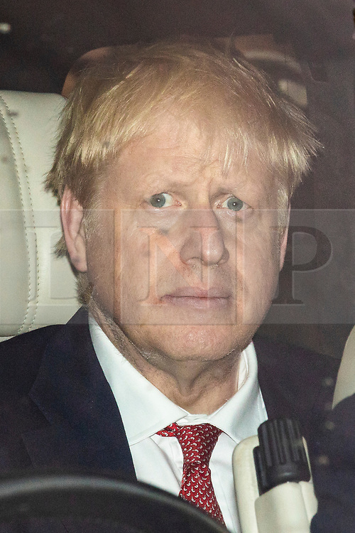 © Licensed to London News Pictures. 19/06/2019. London, UK. Boris Johnson MP, frontrunner to become Leader of the Conservative Party and the next Prime Minister, is seen leaving Parliament after the results of the third round of the leadership contest. Rory Stewart MP has been voted out of the race. Photo credit: Rob Pinney/LNP