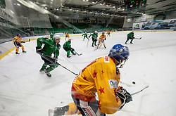 Stebih Mih of HK SZ Olimpija vs Rosa Marco of Asiago during first leg Ice Hockey game between HK SZ Olimpija Ljubljana and Asiago Hockey in Final of Alps Hockey League 2020/21, on April 20, 2021 in Hala Tivoli, Ljubljana, Slovenia. Photo by Vid Ponikvar / Sportida