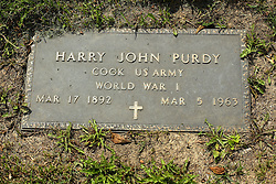 31 August 2017:   Veterans graves in Park Hill Cemetery in eastern McLean County.<br /> <br /> Harry John Purdy  Cook US Army  World War I  Mar 17 1892  Mar 5 1963