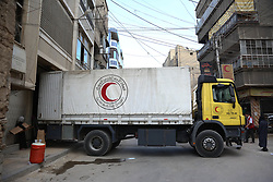 July 27, 2017 - Duma, Damascus, Syria - Entry of convoys of the Syrian Arab Red Crescent to the city of Duma and inside the supplies and medicines, near Damascus, July 27, 2017. (Credit Image: © Samer Bouidani/NurPhoto via ZUMA Press)