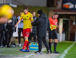 Partick Thistle's Steven Saunders not happy after being subbed. Dunfermline 5 v 1 Partick Thistle, Scottish Championship game played 30/11/2019 at Dunfermline's home ground, East End Park.