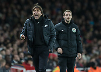 Football - 2017 / 2018 Premier League - Arsenal vs. Chelsea<br /> <br /> Antonio Conte, Manager of Chelsea FC, screams at the linesman after Cesc Fabregas (Chelsea FC)  was booked at The Emirates.<br /> <br /> COLORSPORT/DANIEL BEARHAM