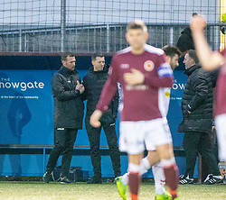 Stenhousemuir's manager Colin McMenamin at the end. Stenhousemuir 1 v 0 Airdrie, Scottish Football League Division One played 26/1/2019 at Ochilview Park.