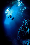 Divers holding hands explore Swallows cave with a backdrop of a curtain of light. Tonga