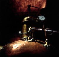 Antique tequila distilling equipment at the Herradura House in Jalisco, Mexico