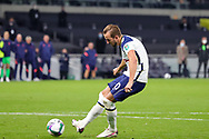 Tottenham Hotspur forward Harry Kane (10) scores from the penalty spot in the penalty shoot out during the EFL Cup Fourth Round match between Tottenham Hotspur and Chelsea at Tottenham Hotspur Stadium, London, United Kingdom on 29 September 2020.