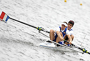 Poznan, POLAND,  ITA LM2-, Bow, Michele PETRACCI and Gennaro GALLO, move away from the start, in their morning heat, at the 2008 FISA World Cup. Rowing Regatta. Malta Rowing Course on Friday, 20/06/2008. [Mandatory Credit:  Peter SPURRIER / Intersport Images] Rowing Course:Malta Rowing Course, Poznan, POLAND