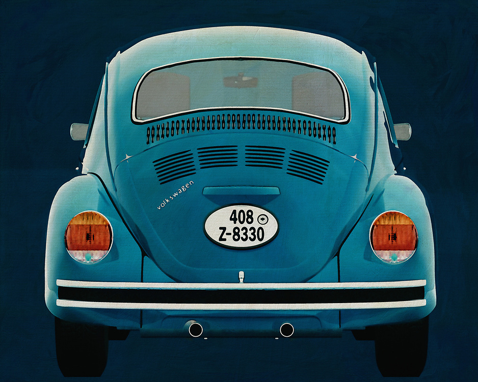 A Volkswagen Beetle seen from the back.  With this painting of the back of the legendary Volkswagen Beetle you get a nice detail. This Volkswagen Beetle drives away from you. -<br />