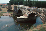 SPAIN, CASTILE  and amp; LEON Puente de Orbigo, historic bridge