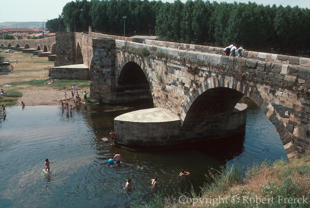 SPAIN, CASTILE  and amp; LEON Puente de Orbigo, historic bridge