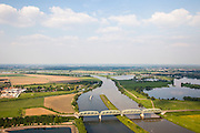 Nederland, Limburg, Roermond, 27-05-2013;<br /> spoorbrug over de Maas, spoorlijn naar Weert (li).<br /> Railway bridge over the Meuse.<br /> luchtfoto (toeslag op standard tarieven)<br /> aerial photo (additional fee required)<br /> copyright foto/photo Siebe Swart