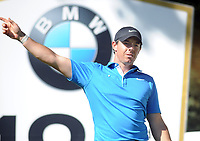 Golf - 2019 BMW PGA Championship - Thursday, First Round<br /> <br /> A dejected Rory McIlroy of Ireland signals wide after hitting the first of 3 balls off the tee at the 18th at the West Course, Wentworth Golf Club.<br /> <br /> COLORSPORT/ANDREW COWIE