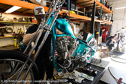 Born Free 9 invited builder Martin Carlgren of Ringo Chop Shop in Gothenburg, Sweden doing final assembly on his 1947 SRM (Swedish Racing Motor) 1,000 cc chopper in Jeff Leighton and Dave Polgreen's The Wretched Hive shop just before the start of the show. Santa Ana, CA. USA. Wednesday June 21, 2017. Photography ©2017 Michael Lichter.