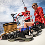 Leg 02, Lisbon to Cape Town, day 12, on board MAPFRE Pablo Arrarte stearing and Sophie Ciszek next to him. Photo by Ugo Fonolla/Volvo Ocean Race. 16 November, 2017