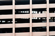 View of a parking ramp, taken from the Wisconsin Center, downtown Milwaukee, Wisconsin, USA.