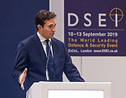 London, United Kingdom - 12 September 2019<br /> Johnny Mercer MP, Parliamentary Under-Secretary of State for Defence People and Veterans for the UK Government gives a keynote address speech and answers questions from the audience at DSEI 2019 security, defence and arms fair at ExCeL London exhibition centre.<br /> (photo by: EQUINOXFEATURES.COM)<br /> Picture Data:<br /> Photographer: Equinox Features<br /> Copyright: ©2019 Equinox Licensing Ltd. +443700 780000<br /> Contact: Equinox Features<br /> Date Taken: 20190912<br /> Time Taken: 10173523<br /> www.newspics.com