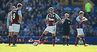Burnley's Danny Ings waits to kick off after his side concede the only goal of the game<br /> <br /> Photographer Stephen White/CameraSport<br /> <br /> Football - Barclays Premiership - Everton v Burnley - Saturday 18th April 2015 - Goodison Park - Everton<br /> <br /> © CameraSport - 43 Linden Ave. Countesthorpe. Leicester. England. LE8 5PG - Tel: +44 (0) 116 277 4147 - admin@camerasport.com - www.camerasport.com