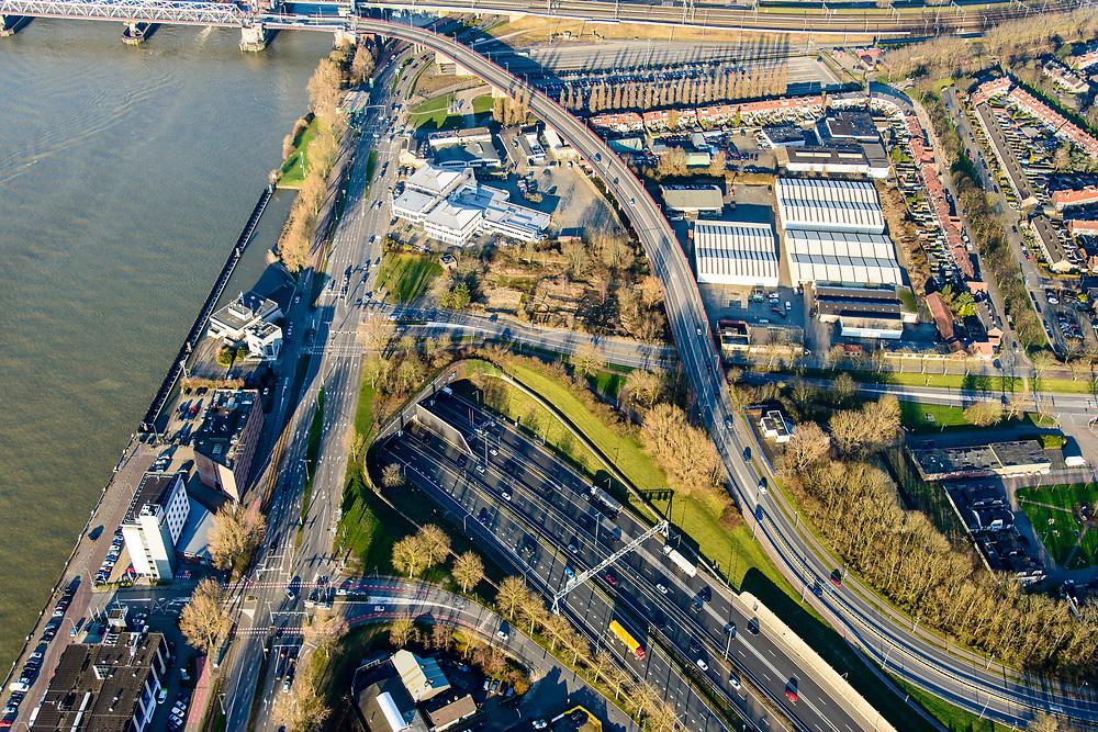 Nederland, Zuid-Holland, Dordrecht, 07-02-2018; Ingang Drechttunnel. Rijksweg 16, onder de Oude Maas van het Eiland van Dordrecht naar IJsselmonde (Zwijndrecht).<br /> Entrance Drechttunnel, under the Oude Maas (Zwijndrecht).