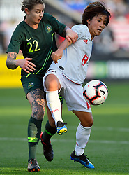 August 2, 2018 - Bridgeview, IL, U.S. - BRIDGEVIEW, IL - AUGUST 02: Japan forward Mana Iwabuchi (8) shields Australia defender Larissa Crummer (22) from the ball during the 2018 Tournament Of Nations at Toyota Park on August 2, 2018 in Bridgeview, Illinois (Photo by Quinn Harris/Icon Sportswire) (Credit Image: © Quinn Harris/Icon SMI via ZUMA Press)